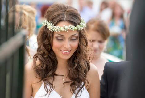 Bridal portrait photo at Religious ceremony in Greece