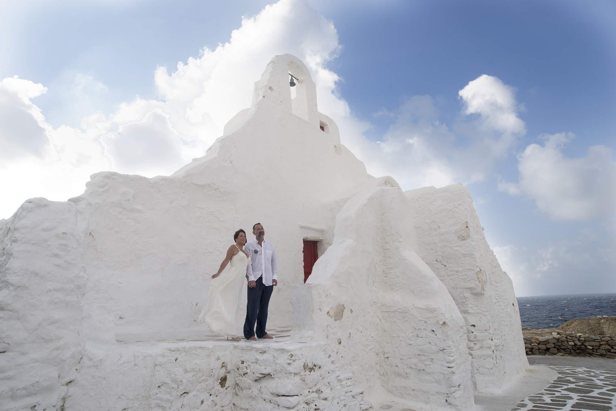 couple at their wedding photo shooting in Mykonos, Greece