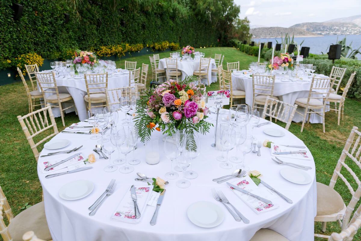 colourful wedding table decoration