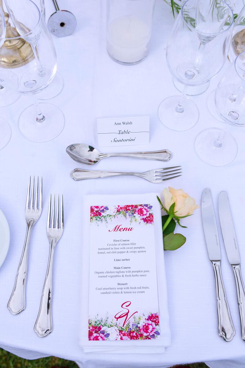 wedding menu decoration