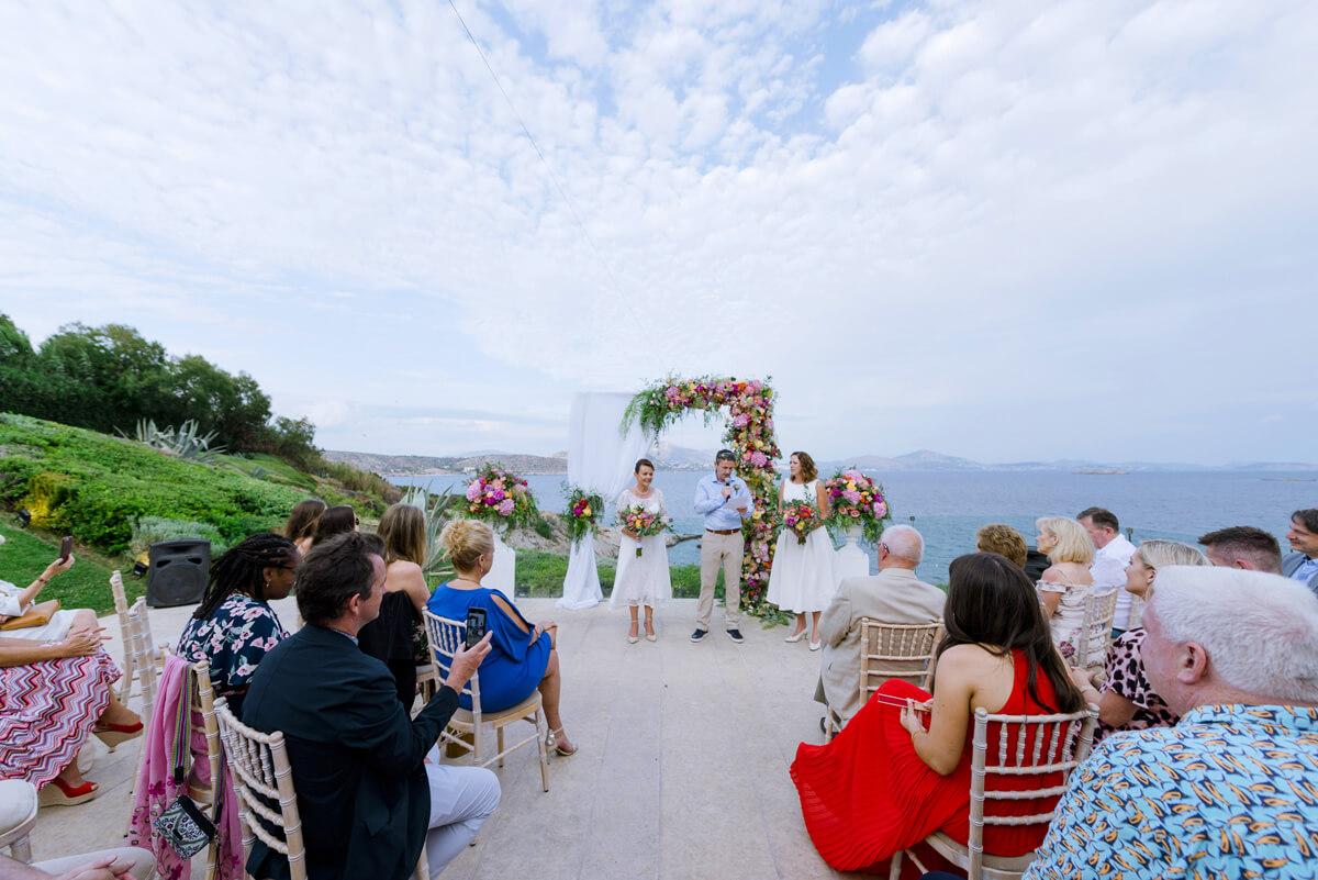 landscape photo of lesbian wedding