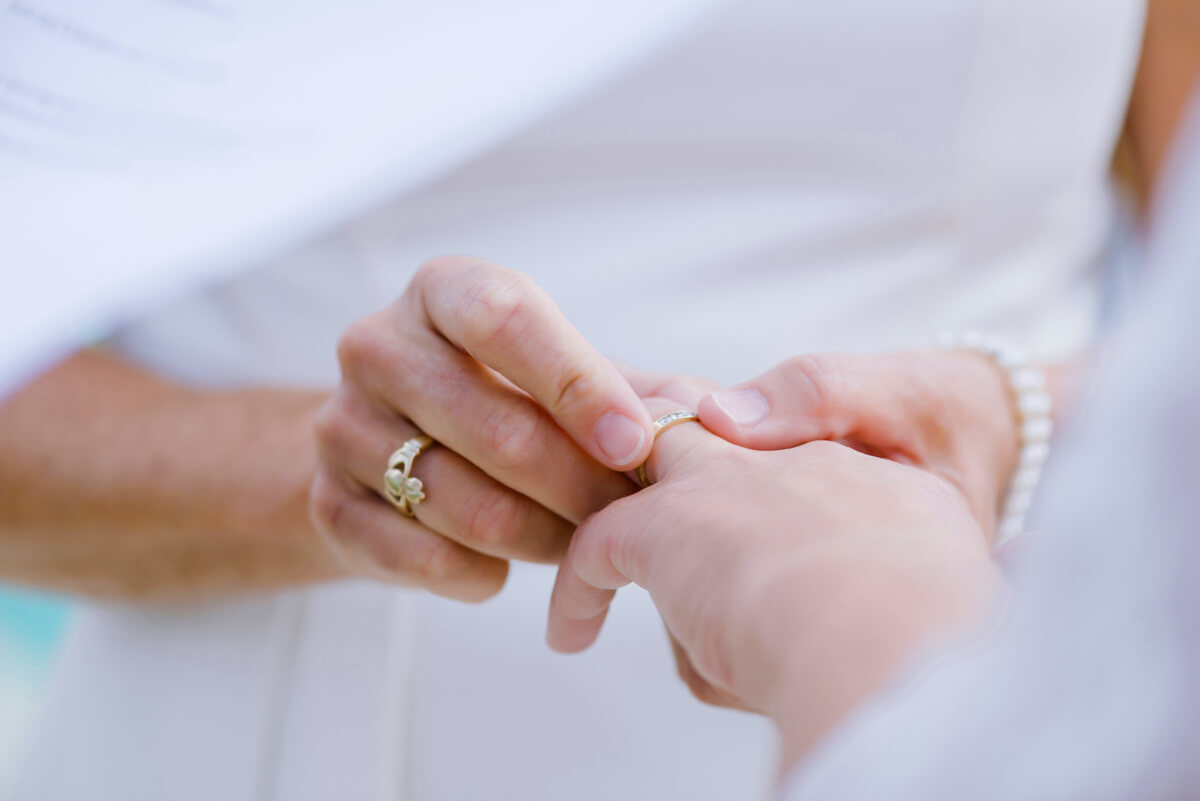 lesbian couple exchanging rings