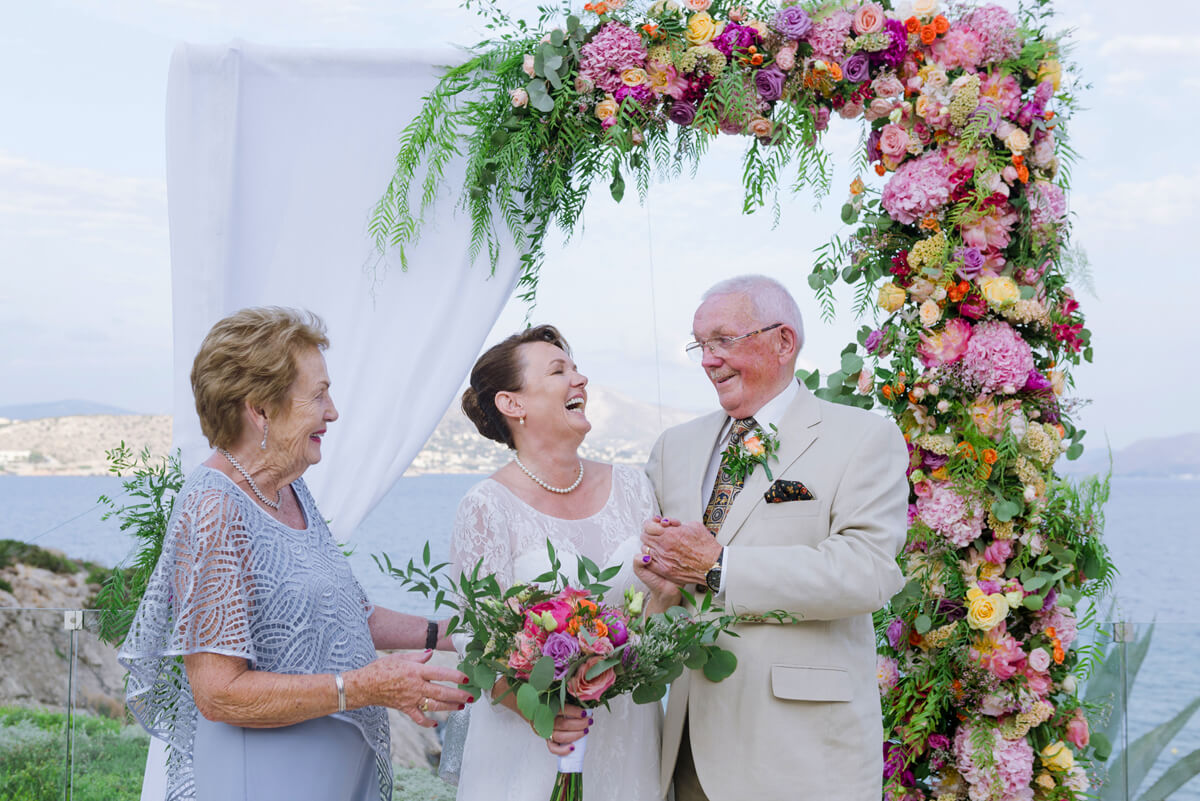 lesbian bride with her parents