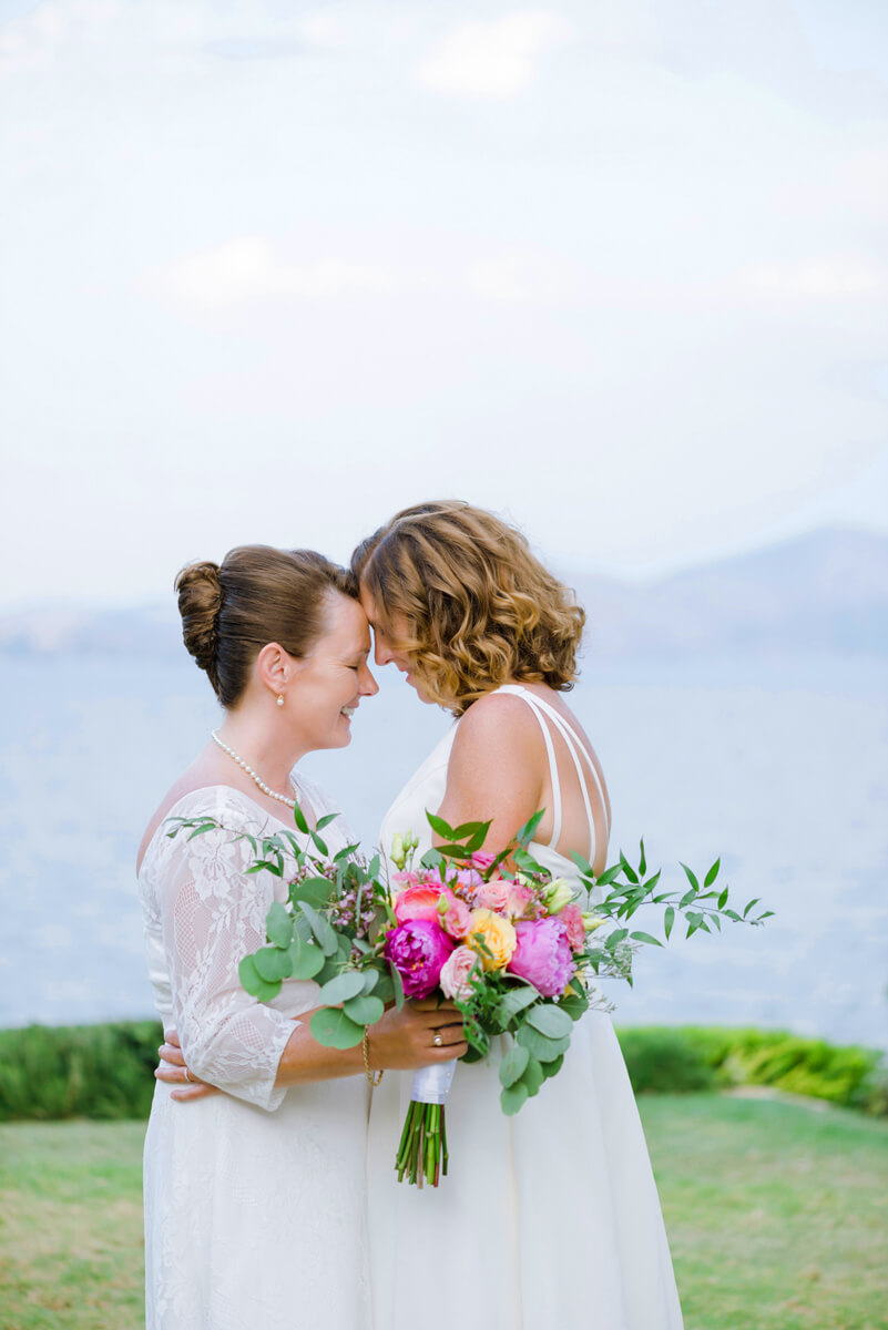 lesbian couple during their wedding in greece
