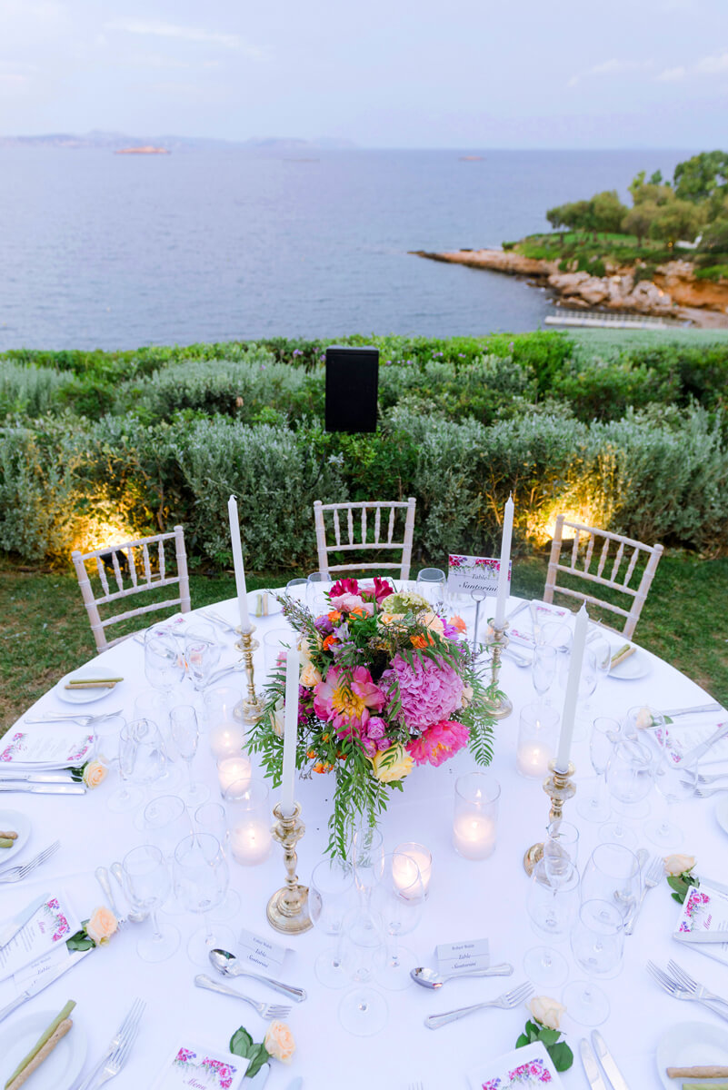 wedding table decoration with colorful flowers