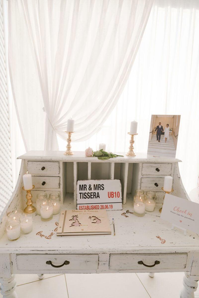 wedding decoration at Santorini wedding venue