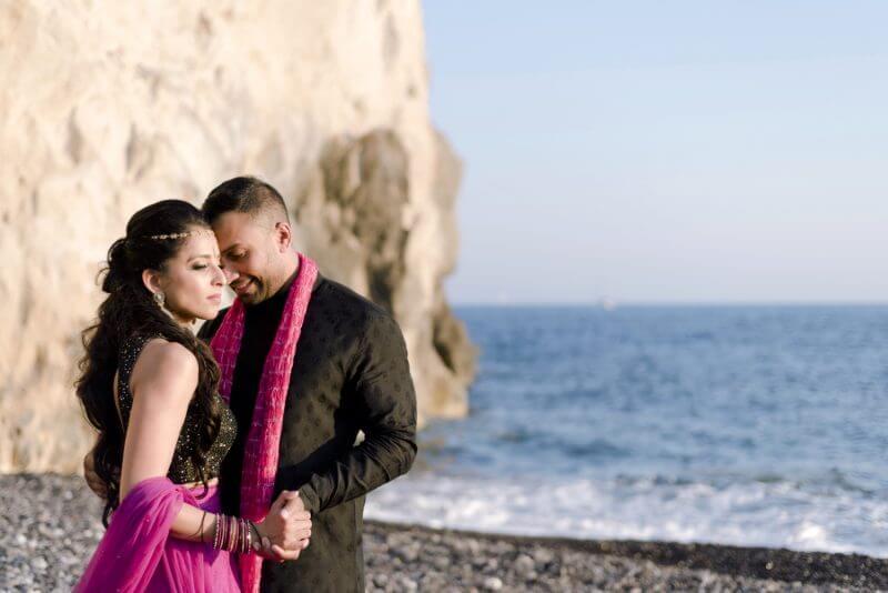indian couple posing in Santorini