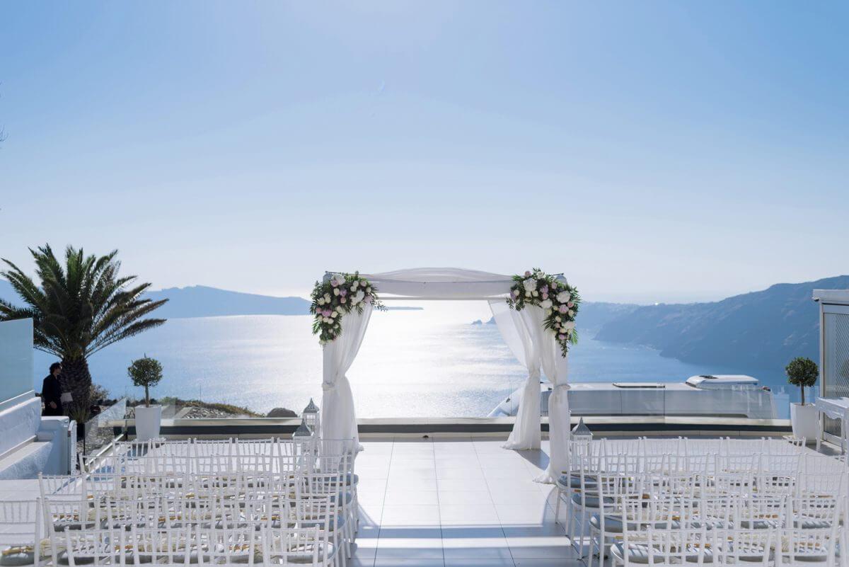 wedding decoration at Santorini Greece